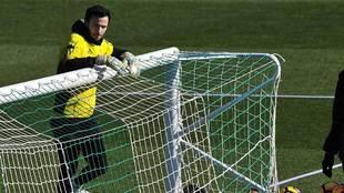 Manu Herrera durante un entrenamiento de la pasada temporada con el...