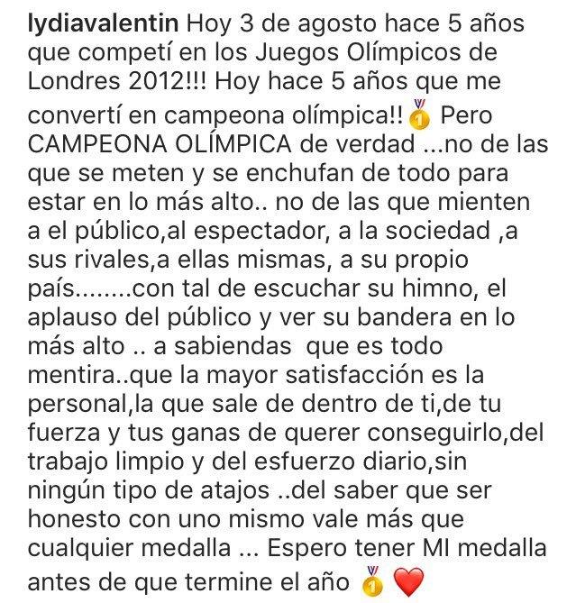 Comunicado de Lydia Valentín en las redes sociales.
