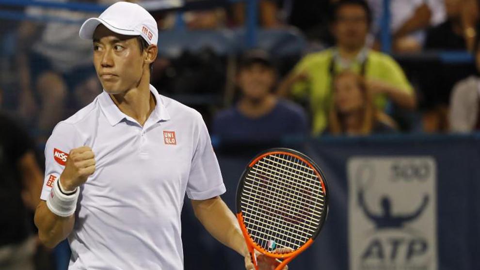 Nishikori (27) celebra tras ganar su partido por los cuartos de final...