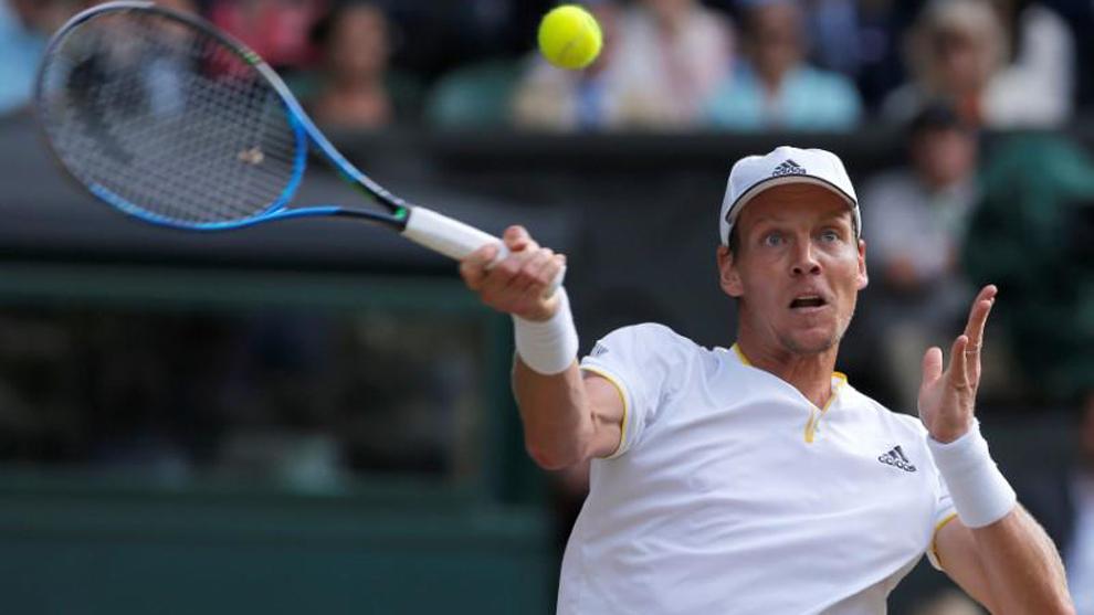 Berdych (31), en un partido de Wimbledon