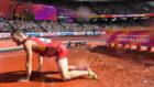 Sebas Martos tras caerse en uno de los saltos a la r�a.