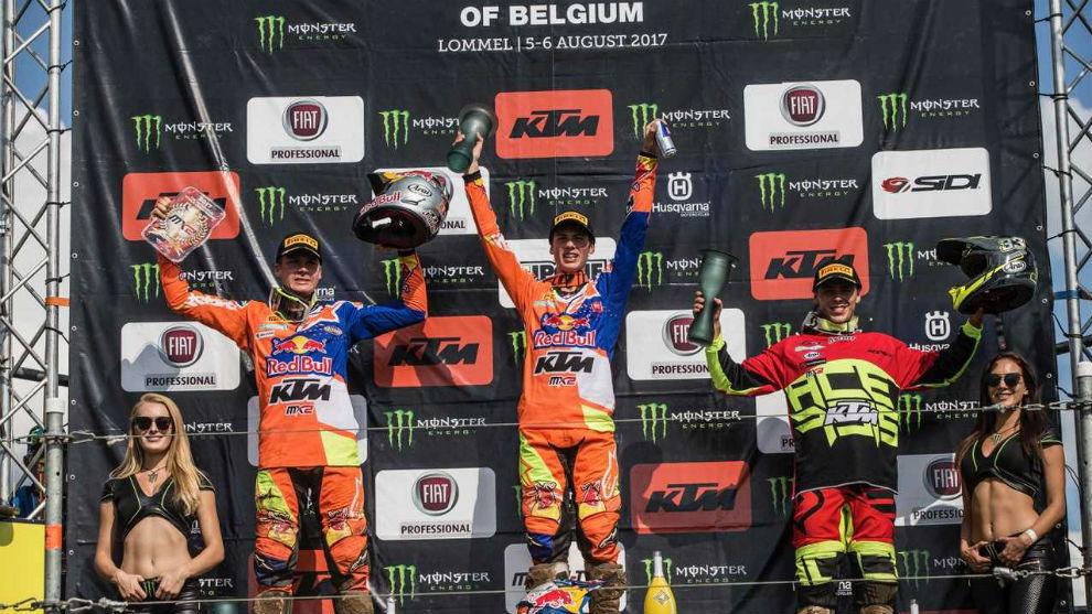 El podio de Bélgica del Mundial de Motocross
