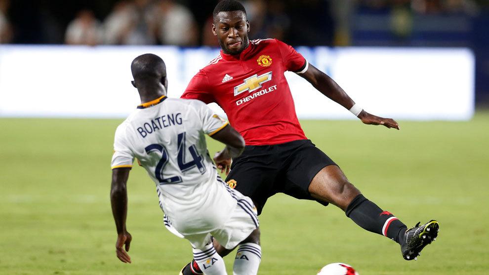 Mensah en el partido amistoso entre el Manchester United y el LA...