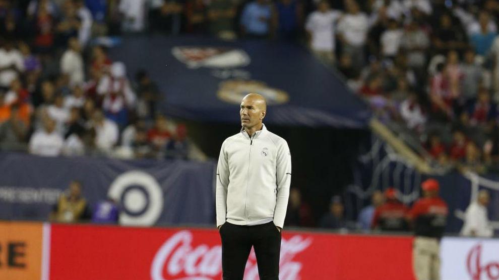 Zidane durante un partido de pretemporada