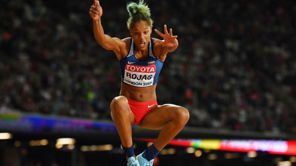 Yulimar Rojas, durante el concurso de triple salto.