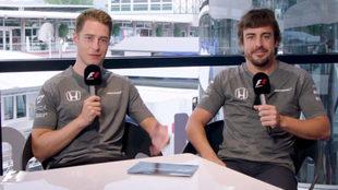 Vandoorne y Alonso, durante el cuestionario.
