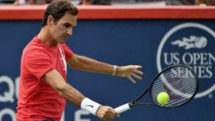 Federer, en un entrenamiento en el Masters de Montreal