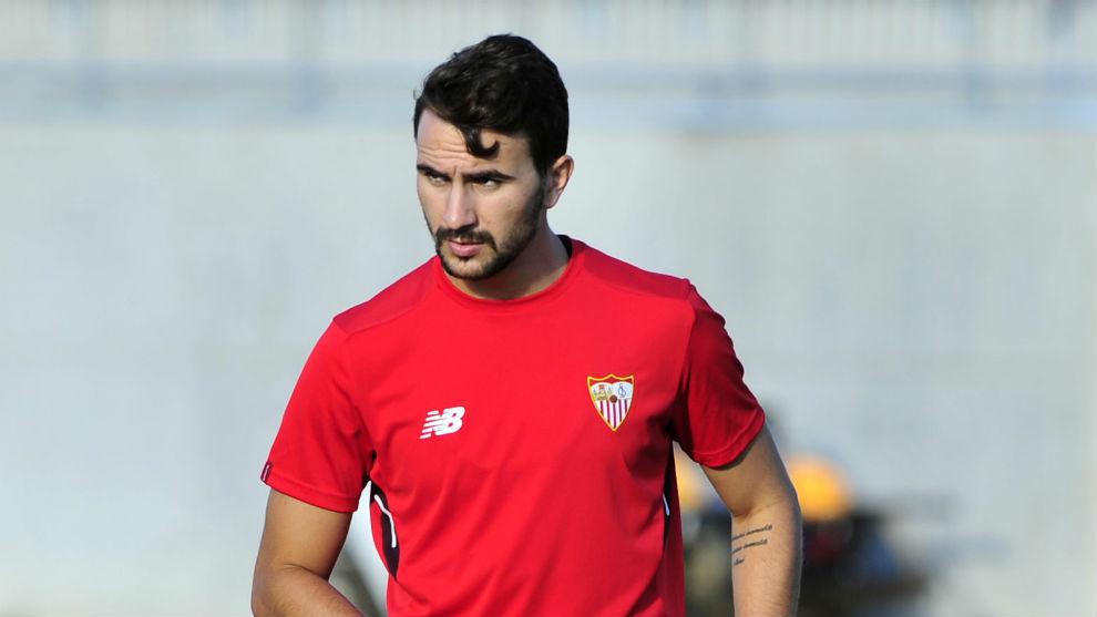 Juan Muñoz, en un entrenamiento reciente con el Sevilla.