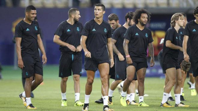 Cristiano, durante el entrenamiento previo a la final