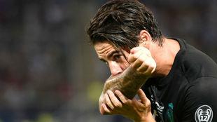 Isco, celebrando el segundo gol del partido.
