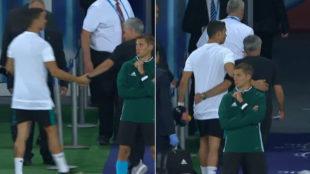 El saludo entre Mourinho y Cristiano al descanso