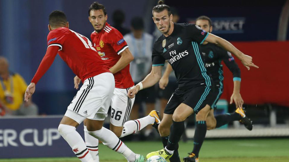 Bale durante el partido en Skopje