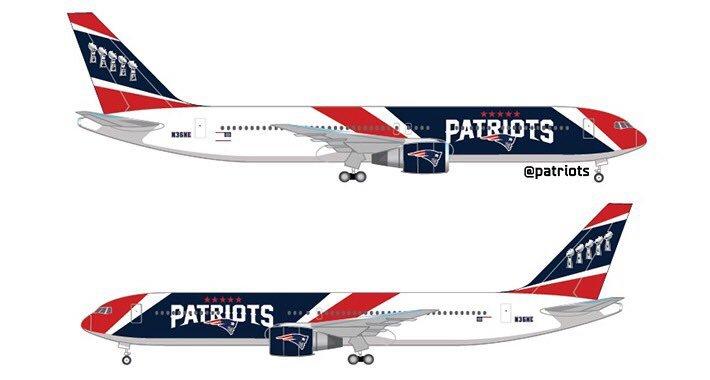 El avión de los New England Patriots