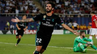 Isco, celebrando el 2-0 ante el MAnchester en la Supercopa de Europa