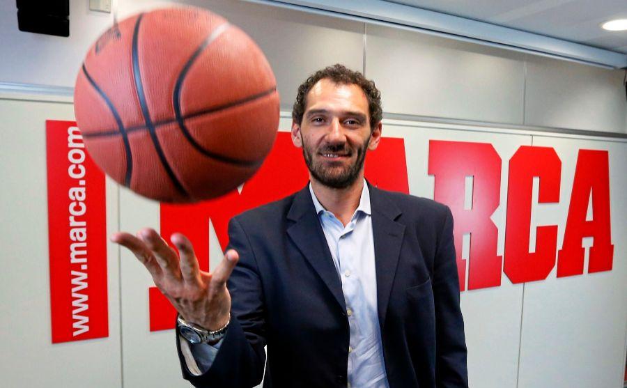 Jorge Garbajosa, en una visita a la redacción de MARCA