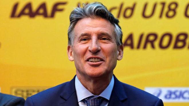 Sebastian Coe, presidente de la IAAF, durante un acto.