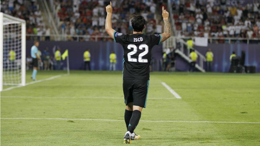 Isco celebra su gol en Skopje ante el United