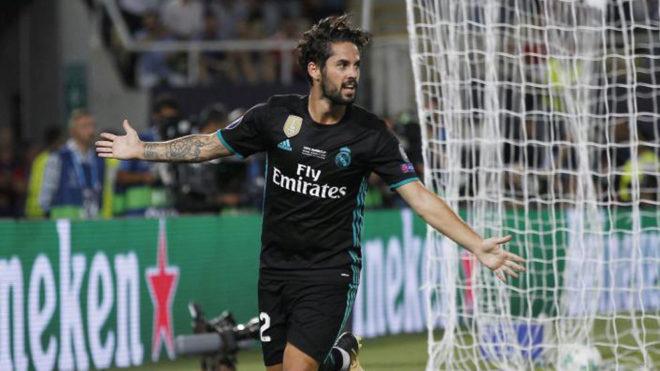 Isco celebra su gol al United en la Supercopa de Europa.