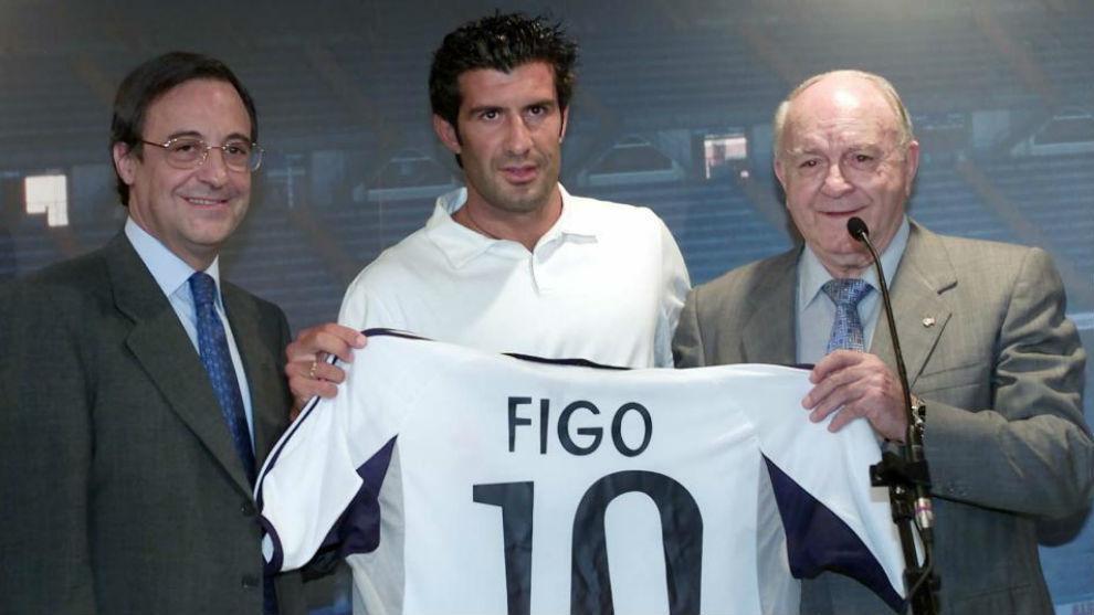 Florentino, Figo y Di Stéfano en la presentación.