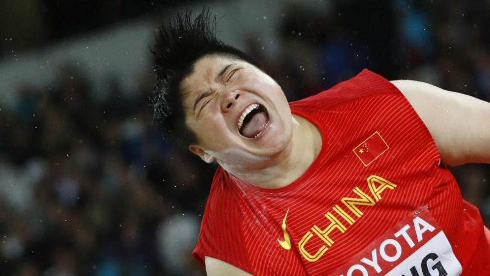 Gong Lijiao celebra su triunfo.