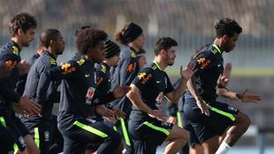 Jugadores de la Selección de Brasil, en un entrenamiento