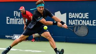 David Ferrer, en un momento de su partido ante Roger Federer en...