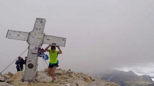 Marc Pinsach, a su llegada a la cima del Aneto.
