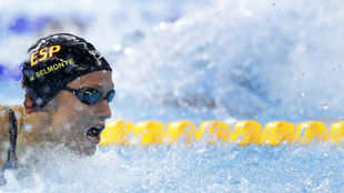Mireia nadando la final de los 200m mariposa de los JJ.OO. de Río...