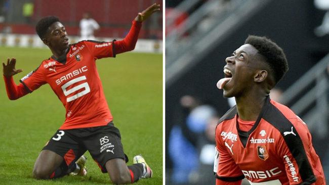 Dembel� celebra dos goles en su etapa en el Rennes