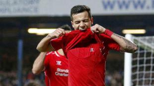 Coutinho celebra un gol con el Liverpool