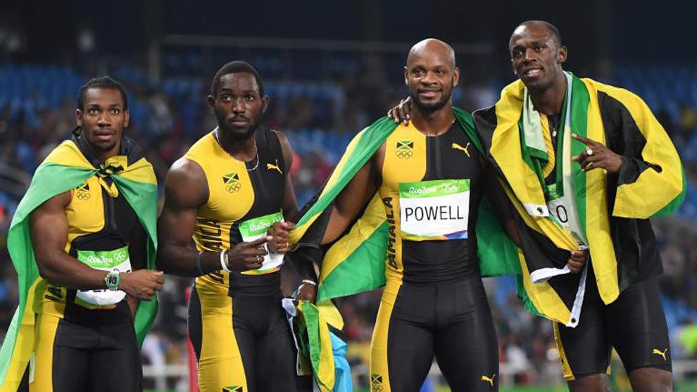 Yohan Blake (27), Nickel Ashmeade (27), Asafa Powell (34) y Usain Bolt...