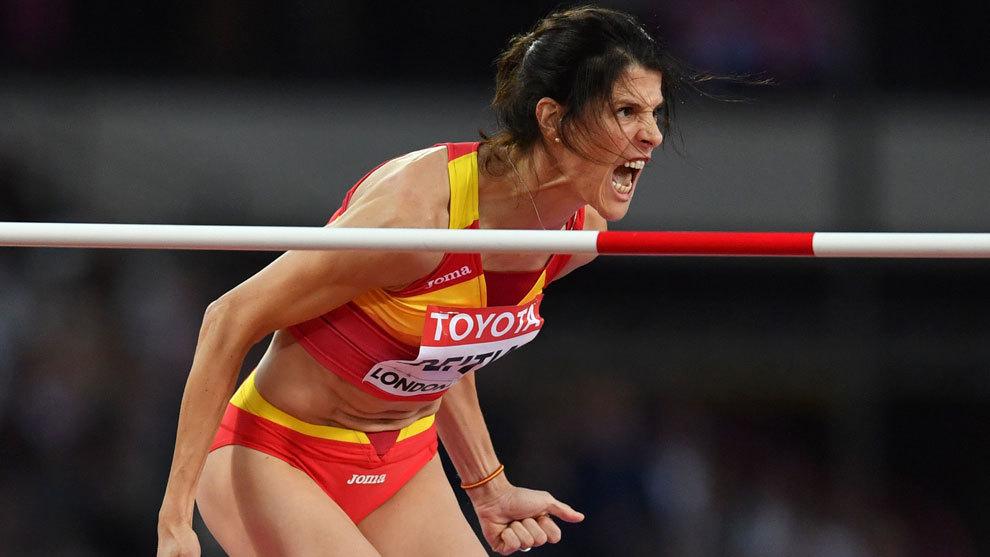 Ruth Beitia durante la prueba de salto de altura en el mundial de...