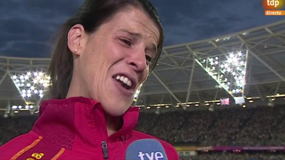 Ruth Beitia, emocionada tras la final de altura