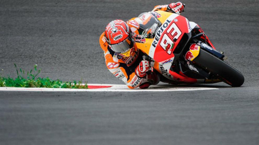 Márquez, durante la calificación de esta tarde en el Gran Premio de...