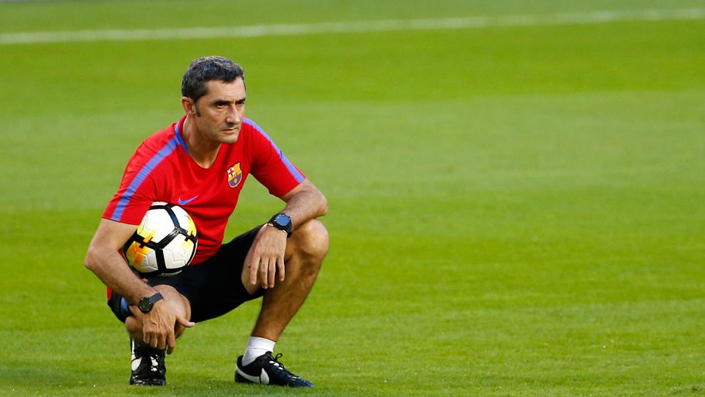 Valcerde en el entrenamiento del Barça