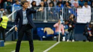 Míchel en un partido del Málaga
