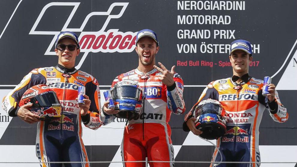 Dovizioso, Márquez y Pedrosa en el podio de Spielberg