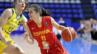 Ángela Salvadores, en un encuentro con la selección.