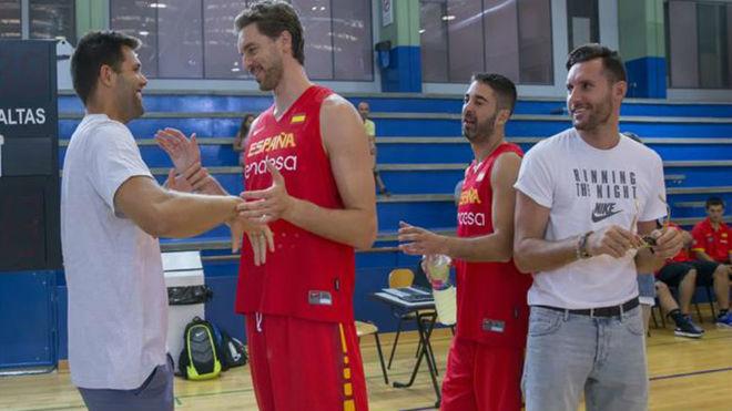 Felipe, Pau Gasol, Navarro y Rudy, esta tarde en el entrenamiento de...