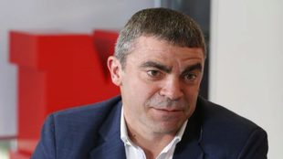 Manolo Sanchís en la redacción de MARCA