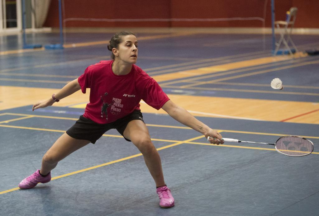 Carolina Marín entrenando.