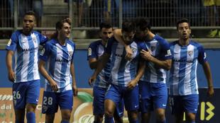 Jugadores del Málaga, en el partido ante el Villarreal por el Trofeo...