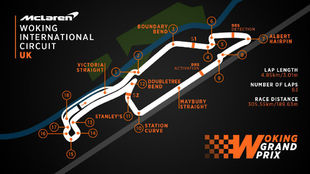 El mapa del trazado de F1 en Woking