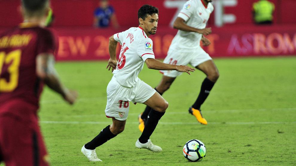 Jesús Navas en un partido de pretemporada con el Sevilla.
