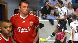 Arnold y Carragher, antes de un partido del Liverpool / Arnold celebra...