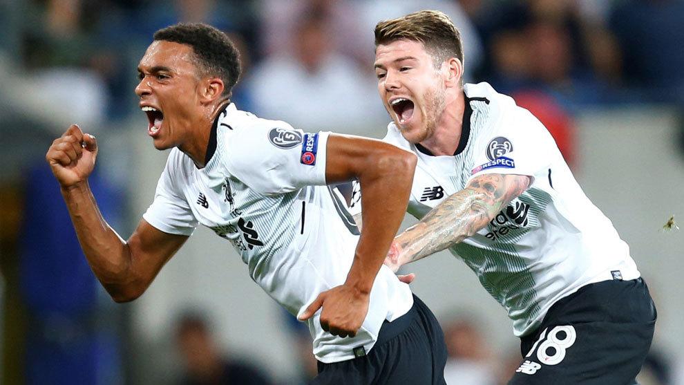 Trent Alexander-Arnold celebra su gol ante el Hoffenheim