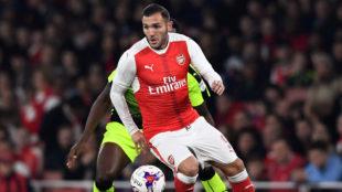 Lucas P�rez, en un partido con el Arsenal
