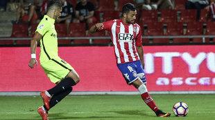 Cristian Herrera, en un partido con el Girona