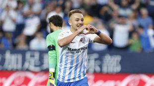 Ontiveros celebra un gol durante la pasada temporada.