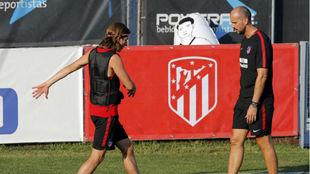Filipe Luis en el entrenamiento de esta tarde